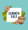 summer sale banner with tropical leaves and tiki vector image