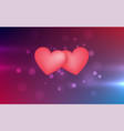 two hearts on light abstract background vector image