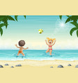 two kids are playing in the water vector image vector image