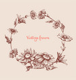vintage floral round frame hand drawn circular vector image