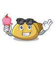 with ice cream mollusk shell character cartoon vector image