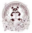 Zen Tangle panda with a book vector image vector image