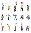 Protest Demonstration People Isometric Icons Set vector image