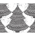 Seamless pattern with hand drawn christmas trees vector image