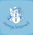 Snowman line vector image