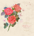 vintage invitation card with bouquet of roses with vector image