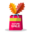 Autumn Sale Pink Paper Shopping Bag with Oak vector image vector image