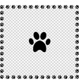 black animal s paw print icon framed with paws vector image vector image