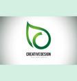 c leaf logo letter design with green leaf outline vector image vector image