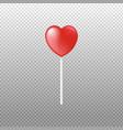 caramel lollipop in heart shape on stick realistic vector image vector image
