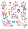 cartoon cute white cat unicorns set vector image vector image