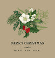 christmas card with winter plants vector image vector image