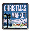 christmas market vintage rusty metal sign vector image vector image