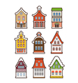 collection colorful vintage houses vector image