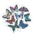 composition with hand drawn butterflies vector image