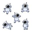 cute cartoon style cosmonaut in spacesuit icons vector image