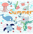 cute under water world animal in blue ocean vector image