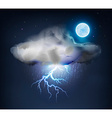 Dark Cloud with Rain and Lightning vector image vector image