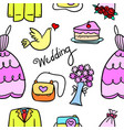 doodle of wedding element colorful style vector image vector image