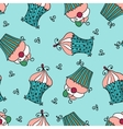 doodle seamless pattern with sweet cupcakes vector image vector image