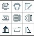 education icons set with school bus notebook e vector image vector image