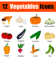 Flat design vegetables icon set vector image