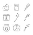 floss dental teeth icons set outline style vector image