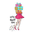girl with gift vector image