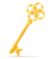 golden vintage key stock vector image
