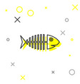 grey fish skeleton line icon isolated on white vector image vector image