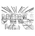 hand drawn coworking cluster modern office vector image