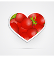 Heart Shaped Red Strawberries vector image