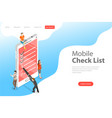 isometric flat concept of mobile checklist vector image vector image