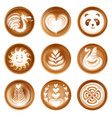 latte art set vector image