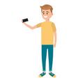 man using smartphone for selfie vector image vector image
