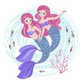 mermaid sisters cartoon tropical princess i vector image vector image