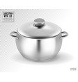 metal saucepan with closed lid realistic vector image vector image