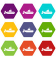 military submarine icons set 9 vector image vector image