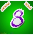 number Eight icon sign Symbol chic colored sticky vector image