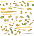 pasta and basil seamless pattern vector image