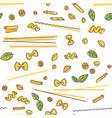 pasta and basil seamless pattern vector image vector image