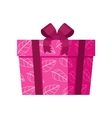 Pink Gift Box with White Leaves Isolated vector image vector image
