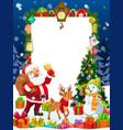 santa gifts christmas tree deer and snowman vector image vector image