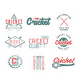 set of retro cricket sports template logo designs vector image vector image