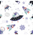 space animals pattern cute cartoon baby vector image vector image