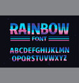 stylized colorful font rainbow vector image vector image