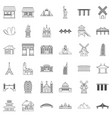 tourist attraction icons set outline style vector image vector image