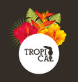 tropical flower leaves round label vector image vector image