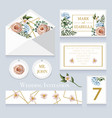 wedding invitation with english roses eucalyptus vector image vector image