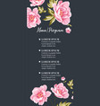 wedding invitation with pink peony flowers on gray vector image vector image